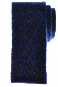 Cesare Attolini Napoli Cashmere Knit Tie 57 x 2 1/2 Blue Geometric