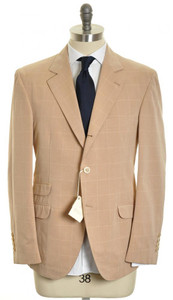 Brunello Cucinelli Sport Coat Blazer Cotton 52 42 Brown Windowpane