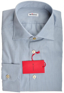 Kiton Luxury Dress Shirt Fine Cotton 15 3/4 40 Blue White Check