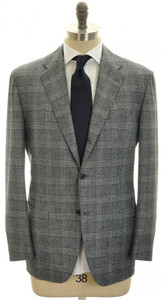 Kiton Suit 3B Wool Cashmere Flannel Size 44 Gray Blue Plaid