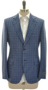 Belvest Sport Coat Jacket 2B Wool Silk Linen Size 44 Blue Check