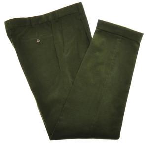 Belvest Pants Flat Front Corduroy Cotton Stretch Size 34 Green