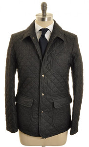 Isaia Napoli Quilted Jacket Coat Wool 50 Medium Gray Solid