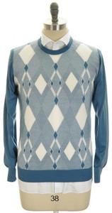 Brioni Sweater Crewneck Extrafine Cashmere Silk 52 Large Blue