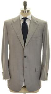 Kiton Suit 3B 14 Micron 180s Wool Size 40 Gray Stripe