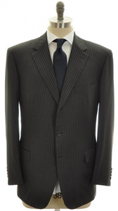 Brioni Suit Parlamento Luxury 150s Wool 46 56 Gray Stripe