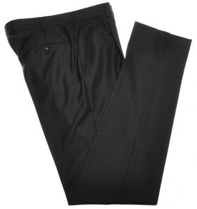 Belvest Pants 1 Pleat 110's Wool Size 32 Dark Gray