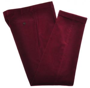 Belvest Pants 1 Pleat Front Cotton Stretch Corduroy Size 34 Red