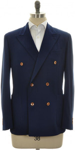 Boglioli 'Dover' Sport Coat Jacket DB Wool 42 52 Blue Solid