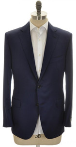 Belvest Sport Coat Jacket 2B 110s Wool Size 42 Blue Solid