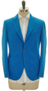 Boglioli 'Coat' Sport Jacket 3B Cotton Linen 40 50 Blue Solid