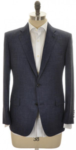 Belvest Sport Coat Jacket 2B Wool Silk Linen Size 48 Blue Plaid