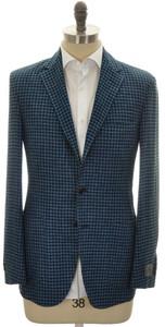 Belvest Sport Coat Jacket 3B Linen Wool Silk Size 40 Blue Check