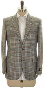 Belvest Sport Coat Jacket 2B Wool Silk Linen Size 44 Green Brown
