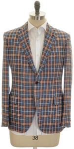 Belvest Sport Coat Jacket 2B Linen Cotton Size 44 Denim-Blue Brown
