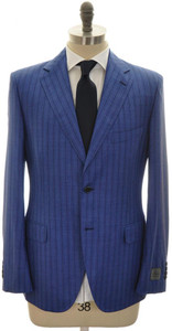 Belvest Suit 2B Wool Silk Blend Size 42 Blue Stripe