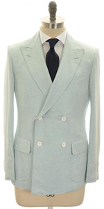 Belvest Suit DB Linen Silk Size 40 Light Blue Solid