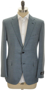Belvest Sport Coat Jacket 2B Wool 110's Size 44 Blue Green Check