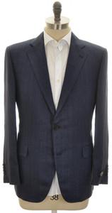 Belvest Sport Coat Jacket 2B Linen Delave Size 44 Blue Herringbone