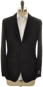 Belvest Sport Coat Jacket 3B Woven Linen Cotton Size 42 Black