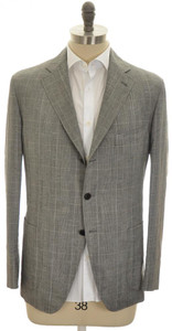 Belvest Sport Coat Jacket 3B Wool Linen Size 44 Gray Glen Plaid