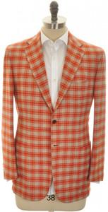 Kiton Sport Coat Jacket 3B Cashmere 40 50 Orange Gray Check