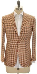 Kiton Sport Coat Jacket 3B Cashmere Silk 38 48 Brown Rust Check