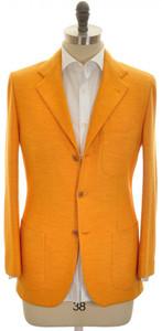 Kiton Sport Coat Jacket 3B Wool Jersey 38 48 Orange Solid
