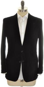 Kiton Sport Coat Jacket 2B Peak Lapel Cotton Velvet 40 50 Black