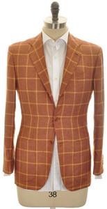 Kiton Sport Coat Jacket 3B Silk Cashmere 38 48 Brown Windowpane