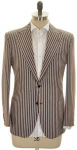 Kiton Sport Coat Jacket 2B Cotton 38 48 Brown White Stripe