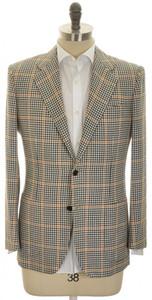 Kiton Sport Coat Jacket 2B Wool Silk Linen 40 50 Green Check