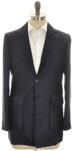 Kiton Sport Coat Shirt Jacket 4B Wool Trim Fit 40 50 Blue