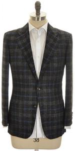 Kiton Sport Coat Jacket 2B Cashmere Alpaca 40 50 Gray Blue Plaid
