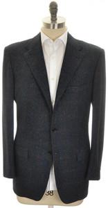 Kiton Sport Coat Jacket 3B Wool Silk Cashmere 42 52 Blue Plaid