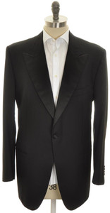 Kiton Sport Coat Tuxedo Jacket 1B Peak Lapel Wool 48 L 58 L Black