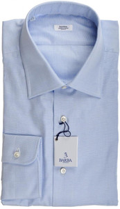 Barba Napoli Dress Shirt Cotton 17 1/2 44 Blue Micro Solid