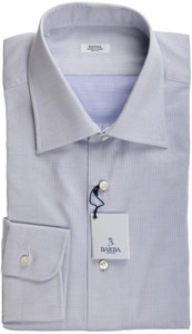 Barba Napoli Dress Shirt Cotton 16 1/2 42 Blue Micro Fancy
