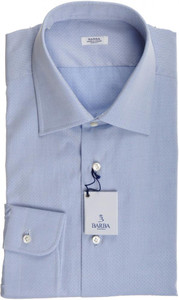 Barba Napoli Dress Shirt Cotton 16 1/2 42 Blue Tonal Fancy