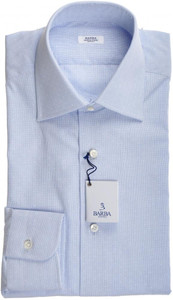 Barba Napoli Dress Shirt Cotton 14 1/2 37 Blue Micro