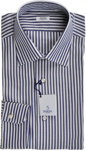 Barba Napoli Dress Shirt Cotton 16 41 Blue White Stripe