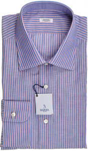 Barba Napoli Dress Shirt Cotton 17 1/2 44 Blue Red Stripe