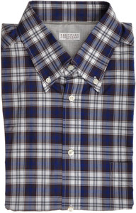 Brunello Cucinelli Shirt Cotton XLarge Blue Brown Plaid