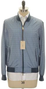 Brioni Bomber Jacket Coat Silk W/ Leather XLarge Blue Check