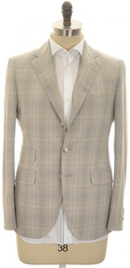 Boglioli 'York' 3B Sport Coat Fine Cotton Size 38 Brown Blue Plaid