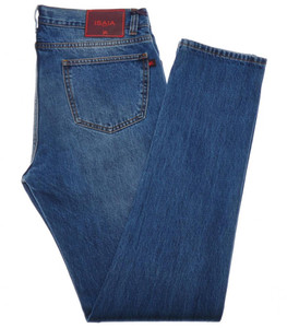 Isaia Napoli Selvedge Washed Denim Jeans Cotton 38 Blue
