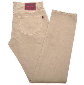 Isaia Napoli Selvedge Denim Jeans Cotton 33 Khaki Brown