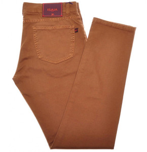 Isaia Napoli Denim Jeans Cotton Stretch 34 Rust Brown