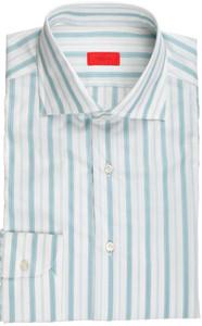 Isaia Napoli Dress Shirt Cotton 41 16 Green White Stripe