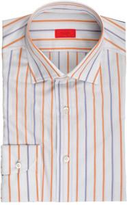 Isaia Napoli Dress Shirt Cotton 41 16 Blue Rust-Brown Stripe